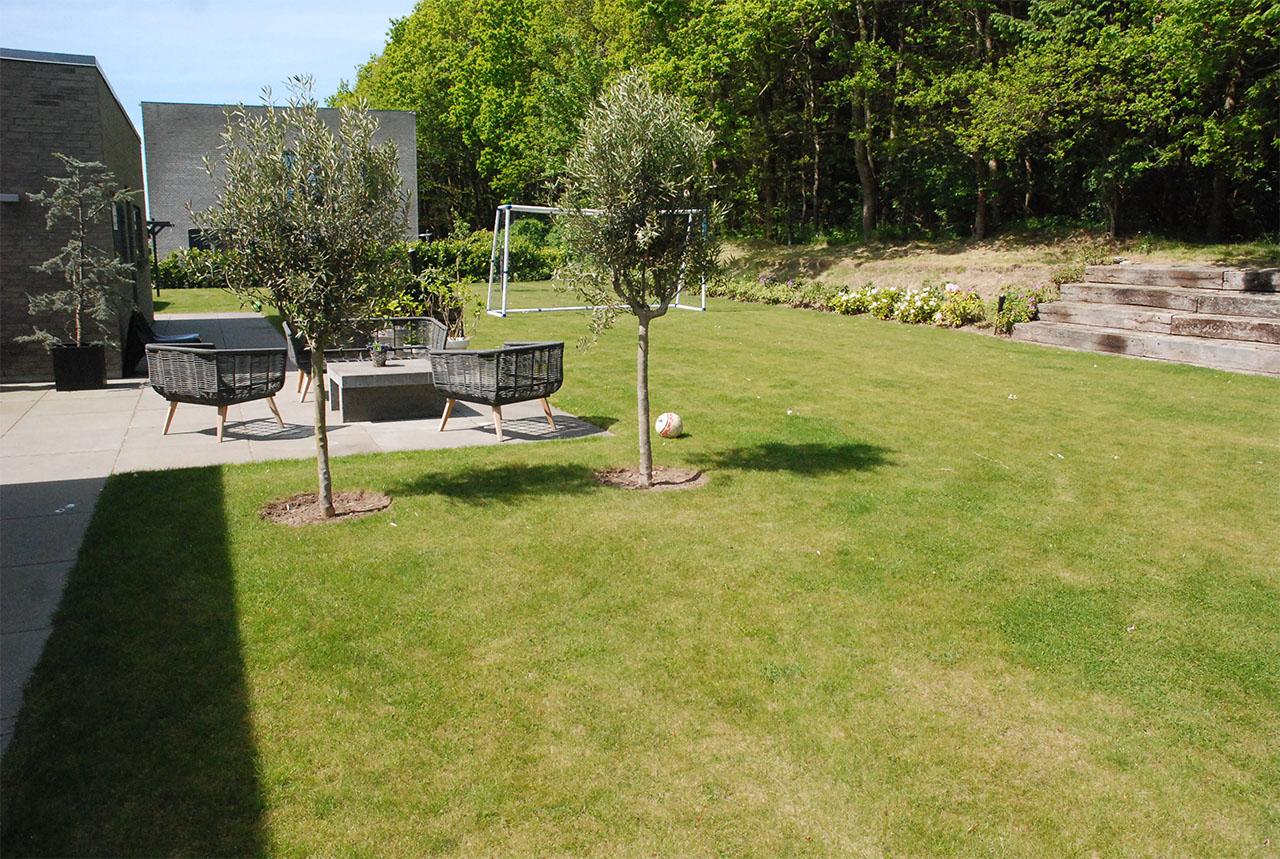 Stor have med terrasse og fodboldmål